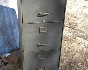 nice strong shape big 1920s or so green metal INDUSTRIAL machine age 3 drawer file FILING storage CABINET  pick up only