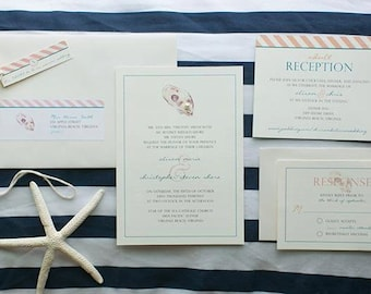 Custom Oyster and Pearl Wedding Invitation