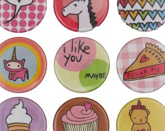 Sweet Things - Pick your 4 Pinback Buttons - Cupcake Pin - Pie Pin - Unicorn Pin - Heart Pin
