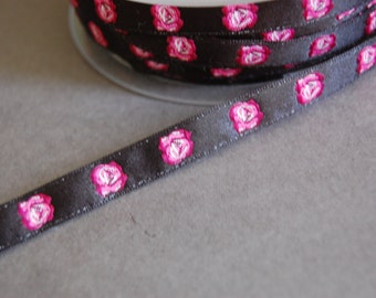 3 yards - Black Rosebud Ribbon