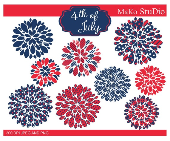 4th of July clip art FLOWERScute 4th of july birthday clip