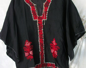 Vintage Embroidered Blouse ~ Mid East ~1960's era Bohemian Style ~ Hippie Chic ~ Tribal ~ Extensive Black with Red & White Embroidery