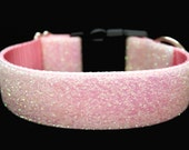 "Snow Glitter Dog Collar 1.5"" Pink Christmas Dog Collar SIZE MEDIUM"