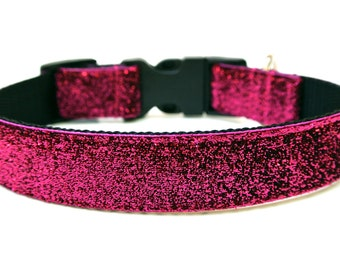 "Pink Dog Collar 1"" Pink Sparkle Glitter Dog Collar SIZE MEDIUM"