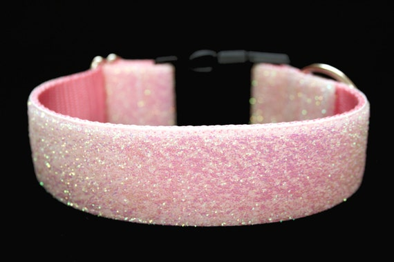 "Snow Glitter Dog Collar 1.5"" Pink Christmas Dog Collar"