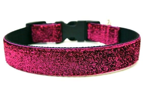 "Pink Dog Collar 1"" Pink Sparkle Glitter Dog Collar"