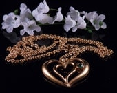 Vintage Avon Necklace - Heart Necklace - Vintage Avon Jewelry - Avon Gold Tone Heart Necklace - Avon Statement Necklace - Free Shipping