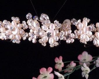 Bridal Tiara Headpiece Freshwater Pearls Crystal Rhinestones Hair Accessories Headband Handmade Wedding Accossories Free Ship Made in USA