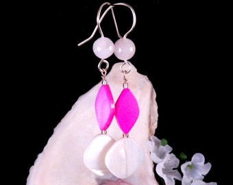 Pink Earrings - Mother of Pearl Shell Earrings - Pink Dangling Earrings - Pink Handmade Costume Jewelry - Made in Montana - Free Shipping