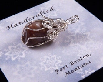 Pendant - Wire Wrapped Stone Pendant - Silver Wire Cage Pendant - Costume Jewelry - Stone Jewelry - Handmade In Montana Free Shipping USA