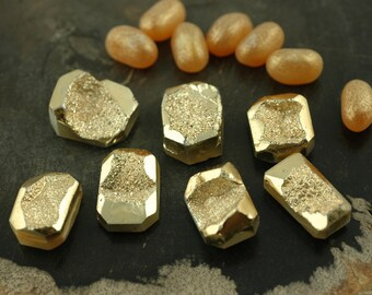 Gold Metallic : Druzy Bead, Drusy Briolette Pendants, 18x28mm, 1 Pendant, Sparkly Bohemian Shimmering Bright Jewelry Making Supplies, DR260
