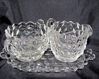 Fostoria American Mini Creamer And Sugar Set With Tray