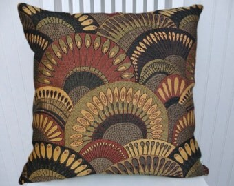 Suzani Decorative Pillow Cover--NEW!! 18x18 or 20x20 or 22x22 Throw Pillow-- Red, Brown, Gold, Black- Accent Pillow