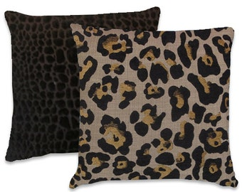 Leopard Decorative Pillow Cover--18x18 or 20x20 or 22x22  Black and GoldChenille Throw Pillow--Accent Pillow