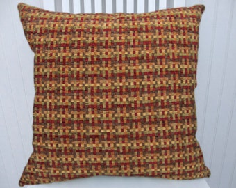 Chenille Decorative  Pillow Cover--18x18 or 20x20 or 22x22--Basket Weave-Contemporary Throw Pillow--Red,Green,Rust,Gold, Orange.