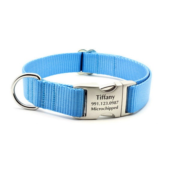Laser Engraved Personalized Buckle Webbing Dog Collar - Ice Blue