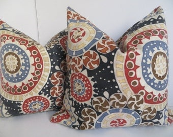 Suzani Red Pillow Cover, Blue Suzani Pillow Cover, Suzani Pillow Cover, Dark Blue Suzani Pillow
