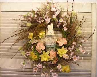 Country Chic Spring Rabbit Wreath, Easter Wreath, Spring Wreath
