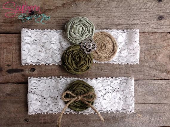 RUSTIC GREEN GARTER set / Wedding garter / bridal garter/ lace garter / Something Blue wedding garter / vintage / Shabby Chic