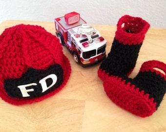 Baby Firefighter Fireman Crochet Hat & Boots, Photography Prop, Preemie, Newborn, 0-3 - MADE TO ORDER