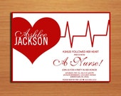 EKG Heart Nursing / Medical Degree Graduation Party Invitation Cards PRINTABLE DIY