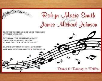 Music Staff Wedding Invitation PRINTABLE / DIY