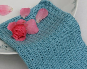 Hand knitted dish cloth - wash cloth - soft cotton teal turquoise