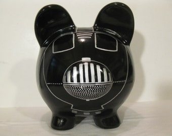 Personalized, Handpainted, Darth Vador Piggy Bank - Black w/Silver Outlines - MADE TO ORDER