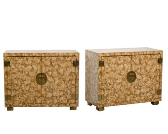 Pair of Vintage Henredon Faux Tortoise Shell Cabinets
