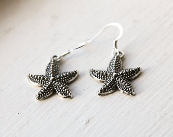 Starfish Earrings- Deep Ocean Nautical Charm Jewelry- Dark Silver Star Fish Earrings