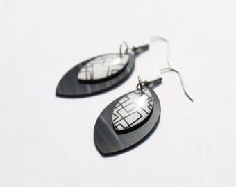 black dangle earrings modern earrings minimalist earrings recycled jewelry vinyl record jewelry geometric earrings leaf earrings eco jewelry
