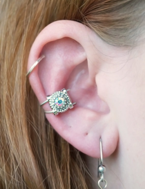 Small Iridescent Diamond Ear Cuff