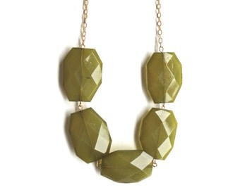 Chunky Olive Necklace - Lightweight Gold Statement Jewelry