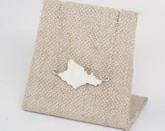 Oahu necklace, Sterling Silver or 14K gf Hawaiian Island