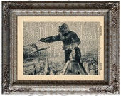 King Kong on Vintage Upcycled Dictionary Art Print Book Art Print Recycled Movie Monster Gorilla