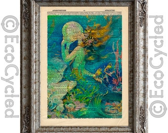 Mermaid 7 on Vintage Upcycled Dictionary Art Print Book Art Print Sea Mythical Creature Recycled Repurposed