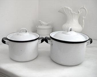 White enamel pots ~ vintage farm kitchen