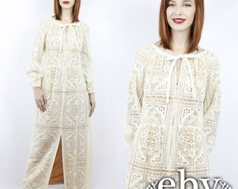 Vintage ESTEVEZ Dress Vintage Wedding Dress Vintage Lace Dress Vintage Hippie Dress Hippie Wedding Dress Hippy Wedding Dress Boho Dress M L