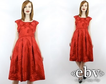 Vintage 50s Red Party Dress S M Red Mini Dress Cocktail Dress 50s Party Dress Red 50s Dress 50s Red Dress