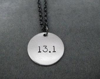 13.1 Half Marathon Round Pendant Necklace - Round Charm on Gunmetal chain - Half Marathon Necklace - Half Marathon Jewelry - First Half