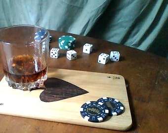 MOVING SALE: Bamboo Playing Card Cheese Tray Coaster Chip Holder Cutting Board