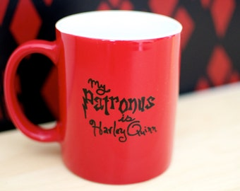 "Batman ""My Patronus is Harley Quinn"" Geek Crossover Hand Painted Mug"