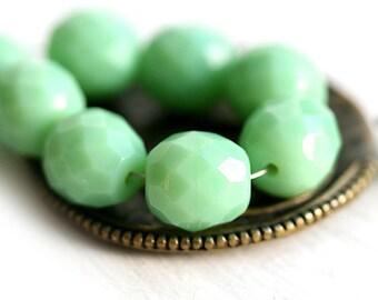 10mm Light Green beads, Mint Green Opaque fire polished czech glass beads, faceted ball beads - 10pc - 1508