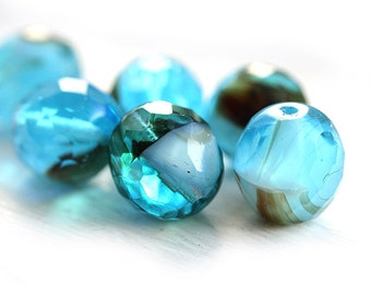 12mm beads, Czech Glass round beads - Aqua blue tortoise - fire polished, large - 6Pc - 2267