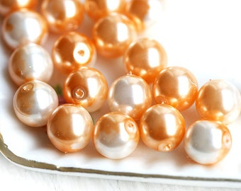 8mm Round Faux pearls - Peach and White czech glass beads, round, druk - 8mm - 20Pc - 0650