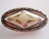 Pink Rose Silver and Enamel Brooch or Pin
