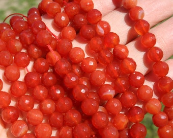 Natural Carnelian 8mm Faceted Round Beads Strand, 16-Inch Strand G01208