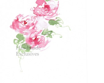 Handpainted Greeting card, Handmade card, Pink roses,  Watercolor Card, Any occasion, Mother's Day, Blank, under 10, Handmade Exclusives