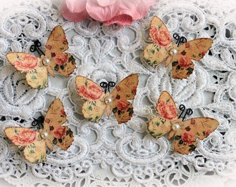 Reneabouquets Tiny Treasures Butterfly Set -  Secret Crush Butterflies Scrapbook Embellishment, Wedding Decoration, Home Decor
