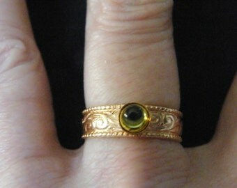 Peridot Rings! Peridot Cabochon, Gold Filled, Ornate Band Rings! August Birthstone! Birthday Gifts, Anniversary Gifts, Holiday Gifts